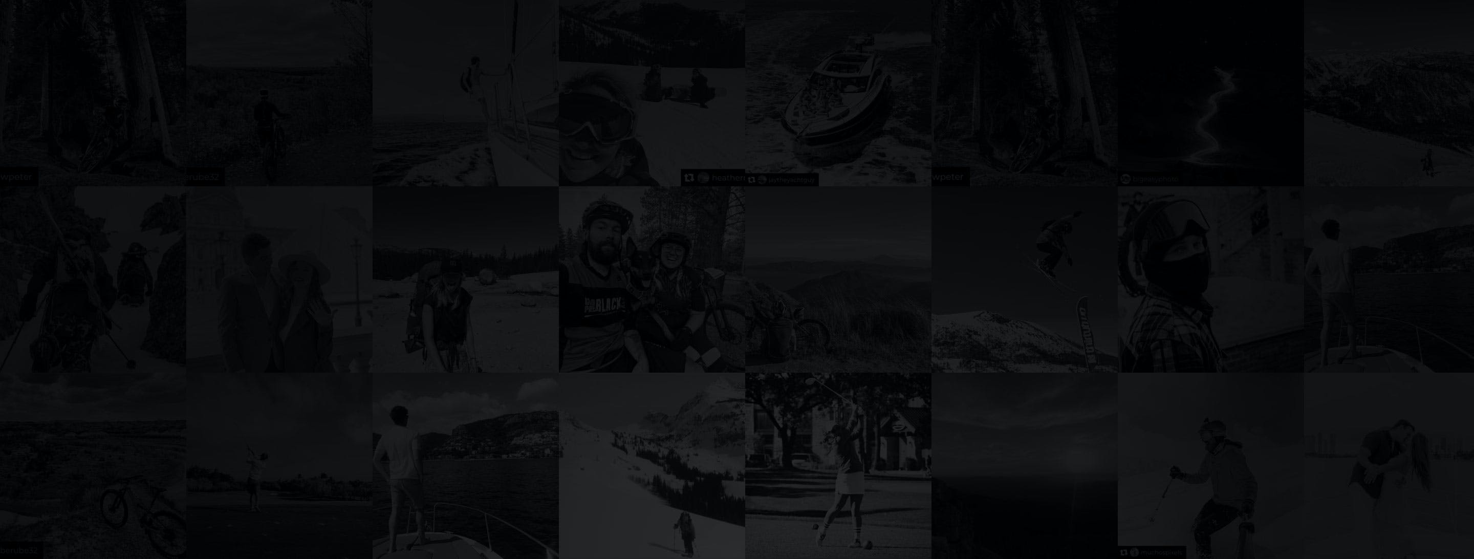 A collage of people skiing, snowboarding, playing golf, camping, hiking and fly fishing.